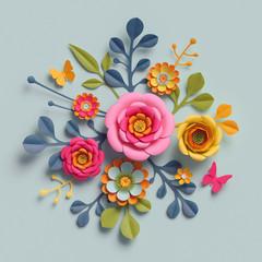 3d render, craft paper flowers, autumn botanical arrangement, festive floral bouquet, bright candy colors, nature clip art isolated on pale blue background, decorative embellishment