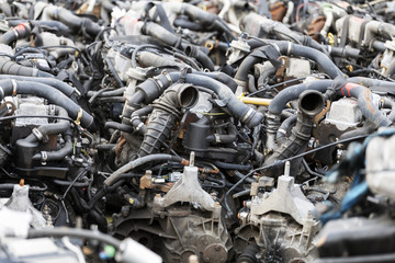 A lot of car engines. Car Assembly, spare parts trade