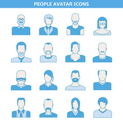 people avatar icons set blue theme design