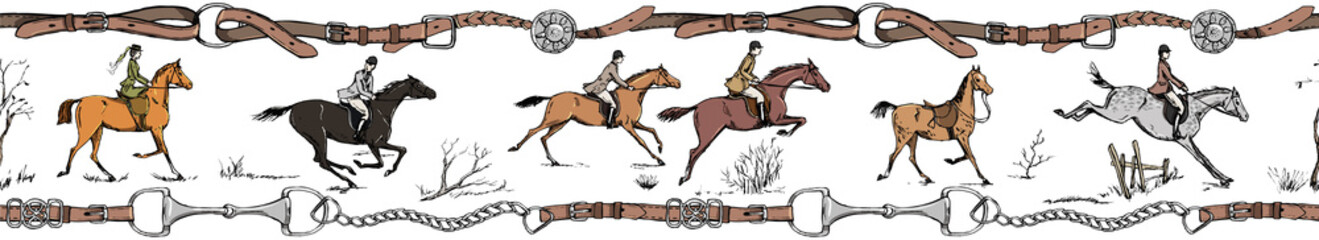 Equestrian sport horse rider english style. Galloping horsemen with saddle. Seamless, belt border or frame with bit, leather riding tack bridle tool. England tradition. Hand drawing vector vintage art