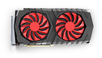 Video Graphic card GPU top view isolated on white background 3d render