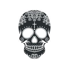 Black skull on white background