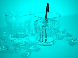 Gläser mit Getränken und Eiswürfeln