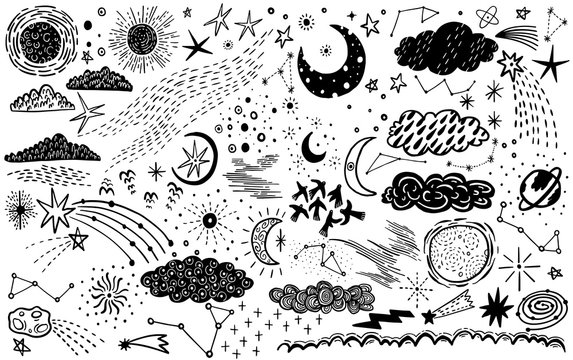 Vector set sketch hand drawn with space, star, cloud, sun, moon, comet. Doodle style. Elements for design.