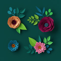 3d render, digital illustration, colorful paper flowers wallpaper, spring summer background, floral design elements