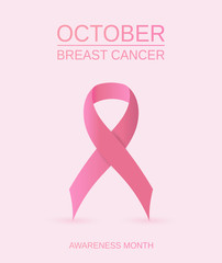 Breast Cancer awareness month card with pink ribbon symbol. Vector illustration.