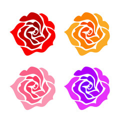 Roses set on a white background