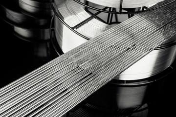 Abstract background of stainless welding rods Wall mural