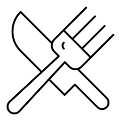 Fork and knife thin line icon. Cutlery vector illustration isolated on white. Dishware outline style design, designed for web and app. Eps 10.