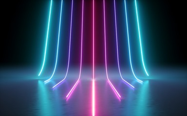 3d render, abstract minimal background, glowing lines, cyber, chart, pink blue neon lights, ultraviolet spectrum, laser show Wall mural
