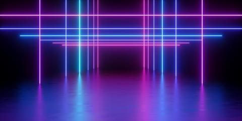 3d render, glowing lines, neon lights, abstract psychedelic background, corridor, tunnel, ultraviolet, spectrum vibrant colors, laser show Fotoväggar