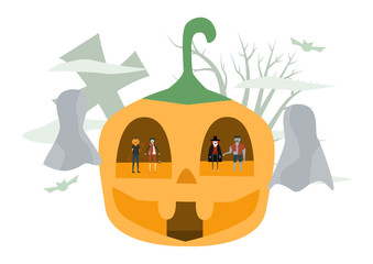 Minimal scene for halloween day, 31 October, with monsters that include dracula, pumpkin man, frankenstein, cat. Vector illustration isolated on white background.