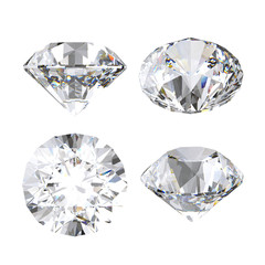 3d render, clear diamond, brilliant, precious gem, jewel icon, perspective view, clip art set, isolated on white background
