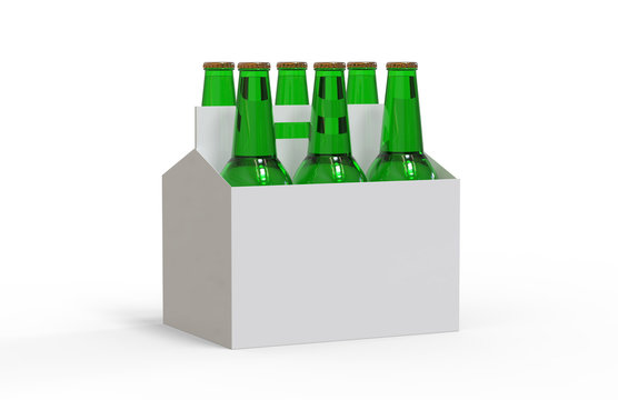 Six pack of beer bottles in cardboard box, mock up template on isolated white background, 3d illustration