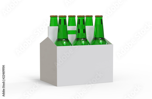Six Pack Of Beer Bottles In Cardboard Box Mock Up Template On Isolated White Background Ilration