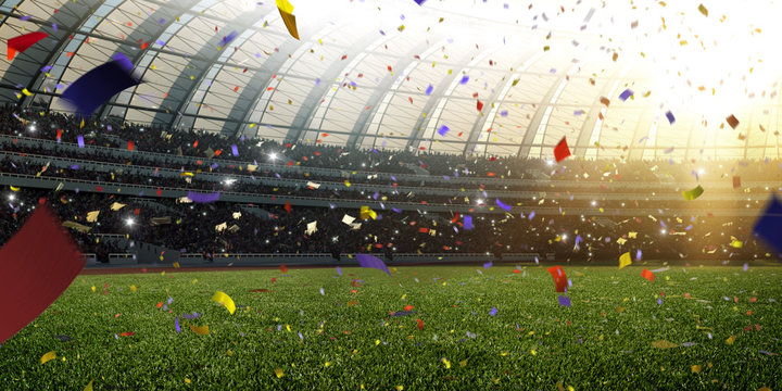 Stadium day Confetti and tinsel with people fans. 3d render illustration