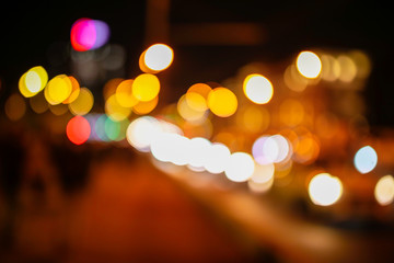 Bokeh city at night as an abstract background
