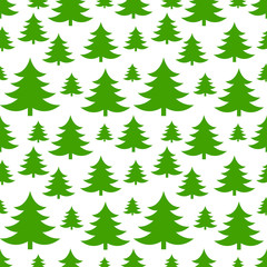Christmas trees green seamless pattern