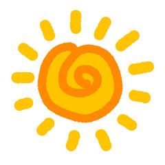 Hand drawn child style sun icon