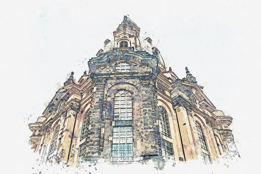 A watercolor sketch or illustration. The church is called Frauenkirche in Dresden in Germany.