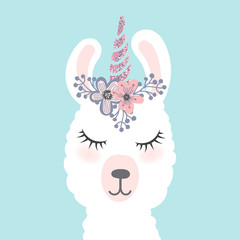 Cute  little white lama head with flower crown. Vector hand drawn illustration for card and shirt design, fabric textile.