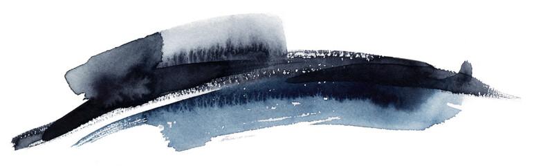 Dark grey watercolour calligraphy stroke
