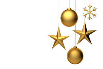 3D rendering of golden christmas decorations: Ball, star, snowflake. Copyspace available for custom text. Isolated on white