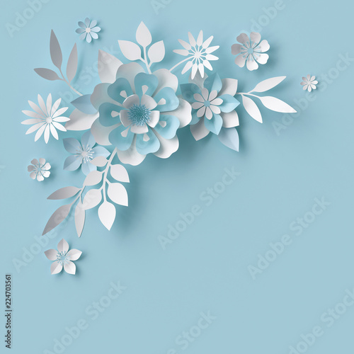 3d Render Abstract White Paper Flowers Pastel Blue Background