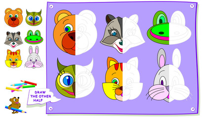Educational page for kids. Need to paint the second parts of animals. Developing children skills for drawing and coloring. Vector cartoon image.