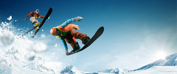 Skiing. Snowboarding. Extreme winter sports Wall mural