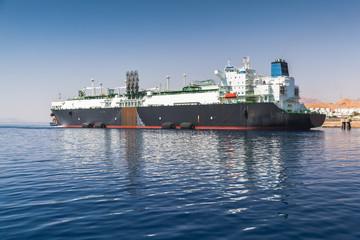 Huge oil tanker moored in Aqaba port