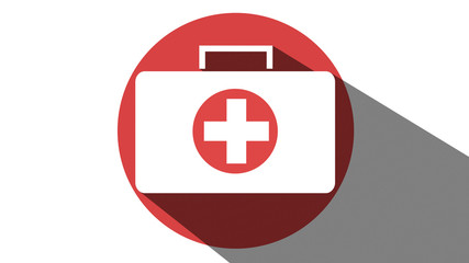 First Aid medical box icon red long shadow