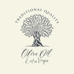 Vector banner or label for extra virgin olive oil with decorative olive tree and handwritten inscriptions on light background in retro style