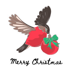 Christmas Color Vector Illustration Set BULLFINCH for Scrapbooking and Digital Print on Card and Photo Children's Albums