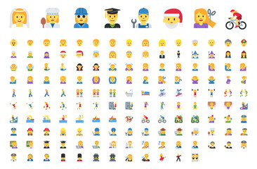 All type of people, different workers, man, woman works, jobs, professions, emojis, emoticons, stickers, symbols. Teachers, doctors, sports, sportsmen, musicians. Labour icons set, collection
