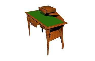 Hölzerner Schreibtisch mit grüner Arbeitsfläche