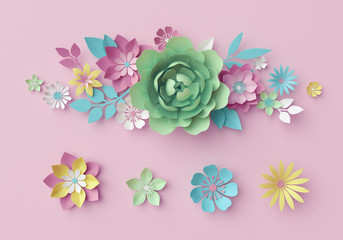 3d render, digital illustration, decorative paper flowers isolated on pink, floral clip art, bunch, bouquet, pastel color wallpaper, greeting card template, minimal background, space for text
