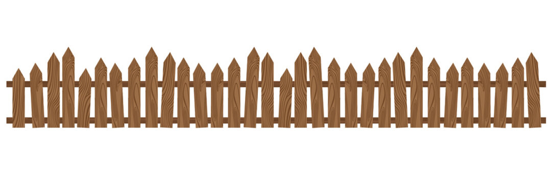 Beautiful brown wooden fence. Wooden fence isolated on white background.