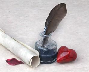 Tintenfass mit Feder