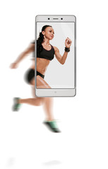 Dynamic photo of young athletic woman running race. conceptual image with a smartphone, demonstration of device capabilities