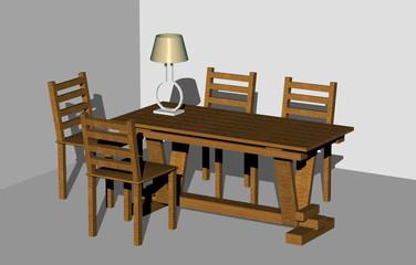 Esszimmer Ecke mit Tisch und Stühlen