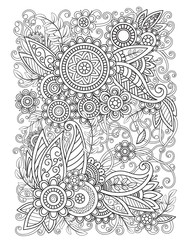 Adult coloring page with oriental floral pattern. Black and white doodle flowers. Bouquet line art vector illustration isolated on white background. Mehndi vector design
