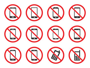 no mobile phone icon set, cell phone prohibited