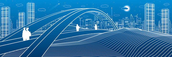 Wall Mural - People walking at pedestrian bridge. City skyline. Modern night town. Infrastructure illustration, urban scene. White lines on blue background. Vector design art
