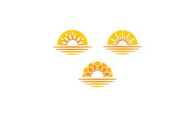 Sun Sunset Sunrise Sea Shadow Vector Logo icon