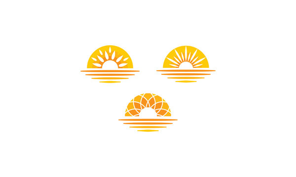 Sun Sunset Sunrise Sea Shadow Vector Logo icon