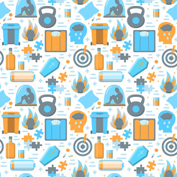 Colored seamless pattern with depression symptoms icons