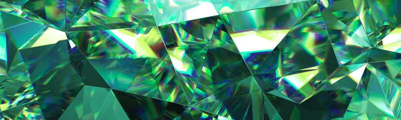 3d render, abstract green crystal background, faceted texture, emerald gem macro, panorama, wide panoramic polygonal wallpaper Fotoväggar