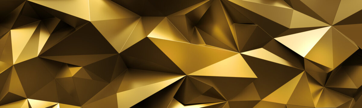 3d render, abstract gold crystal background, faceted texture, macro panorama, wide panoramic polygonal wallpaper
