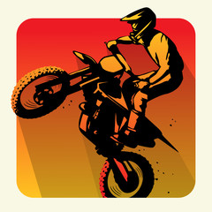 motocross rider icon with long shadow vector